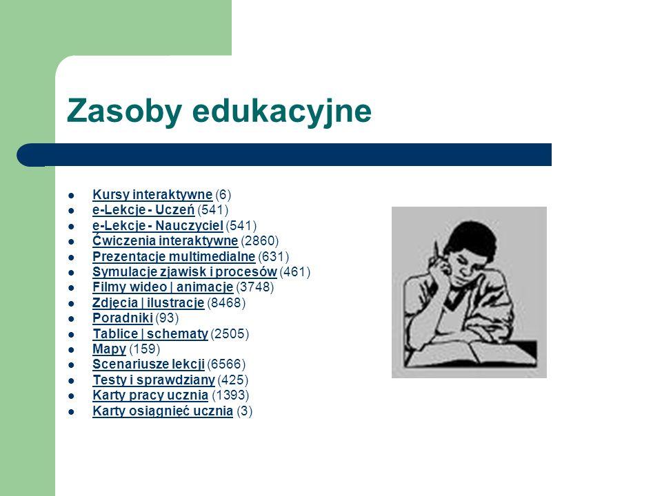 Zasoby edukacyjne Kursy interaktywne (6) Kursy interaktywne e-Lekcje - Uczeń (541) e-Lekcje - Uczeń e-Lekcje - Nauczyciel (541) e-Lekcje - Nauczyciel
