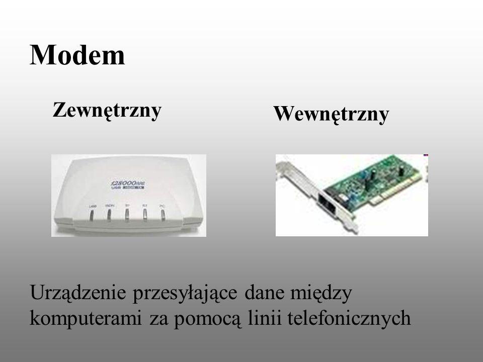 Modem Urządzenie przesyłające dane między komputerami za pomocą linii telefonicznych Zewnętrzny Wewnętrzny