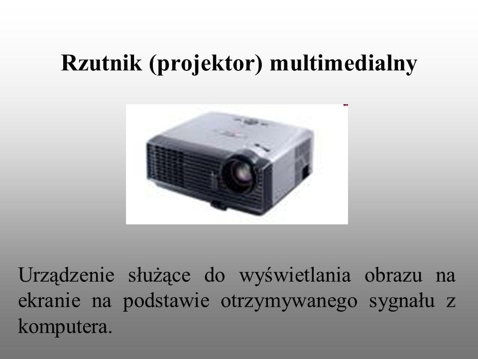 Rzutnik (projektor) multimedialny Urządzenie służące do wyświetlania obrazu na ekranie na podstawie otrzymywanego sygnału z komputera.