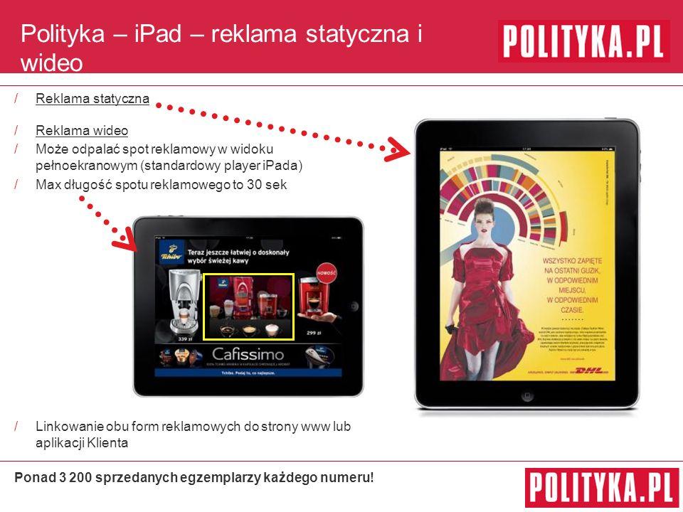 Polityka – iPad – reklama statyczna i wideo /Reklama statyczna /Reklama wideo /Może odpalać spot reklamowy w widoku pełnoekranowym (standardowy player iPada) /Max długość spotu reklamowego to 30 sek /Linkowanie obu form reklamowych do strony www lub aplikacji Klienta Ponad 3 200 sprzedanych egzemplarzy każdego numeru!