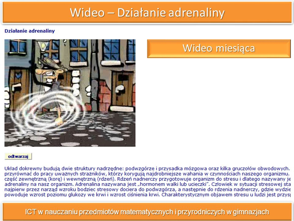 Wideo – Działanie adrenaliny ICT w nauczaniu przedmiotów matematycznych i przyrodniczych w gimnazjach Wideo miesiąca Wideo miesiąca