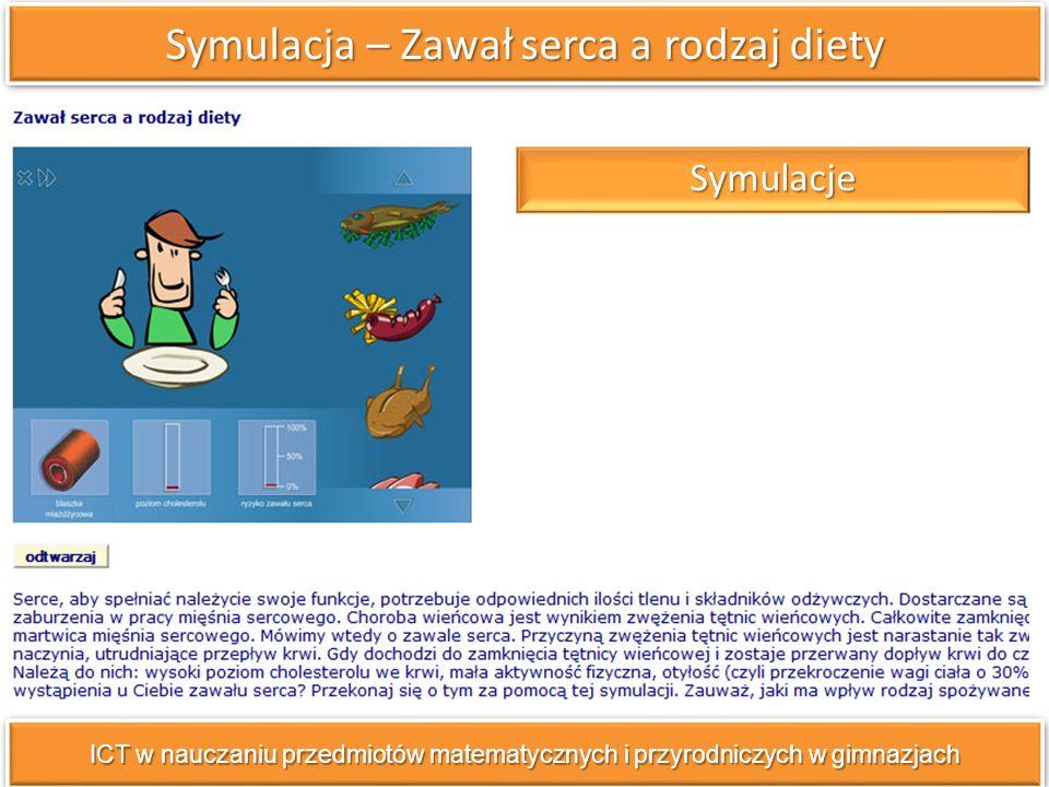 Symulacja – Zawał serca a rodzaj diety ICT w nauczaniu przedmiotów matematycznych i przyrodniczych w gimnazjach Symulacje