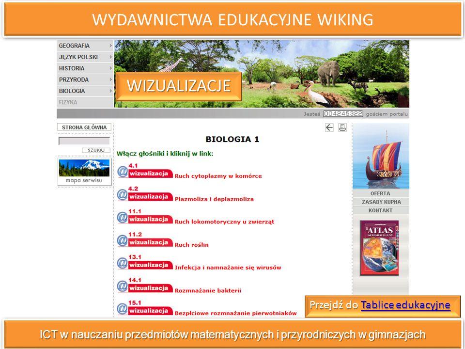 WYDAWNICTWA EDUKACYJNE WIKING ICT w nauczaniu przedmiotów matematycznych i przyrodniczych w gimnazjach WIZUALIZACJE Przejdź do Tablice edukacyjne Tablice edukacyjneTablice edukacyjne