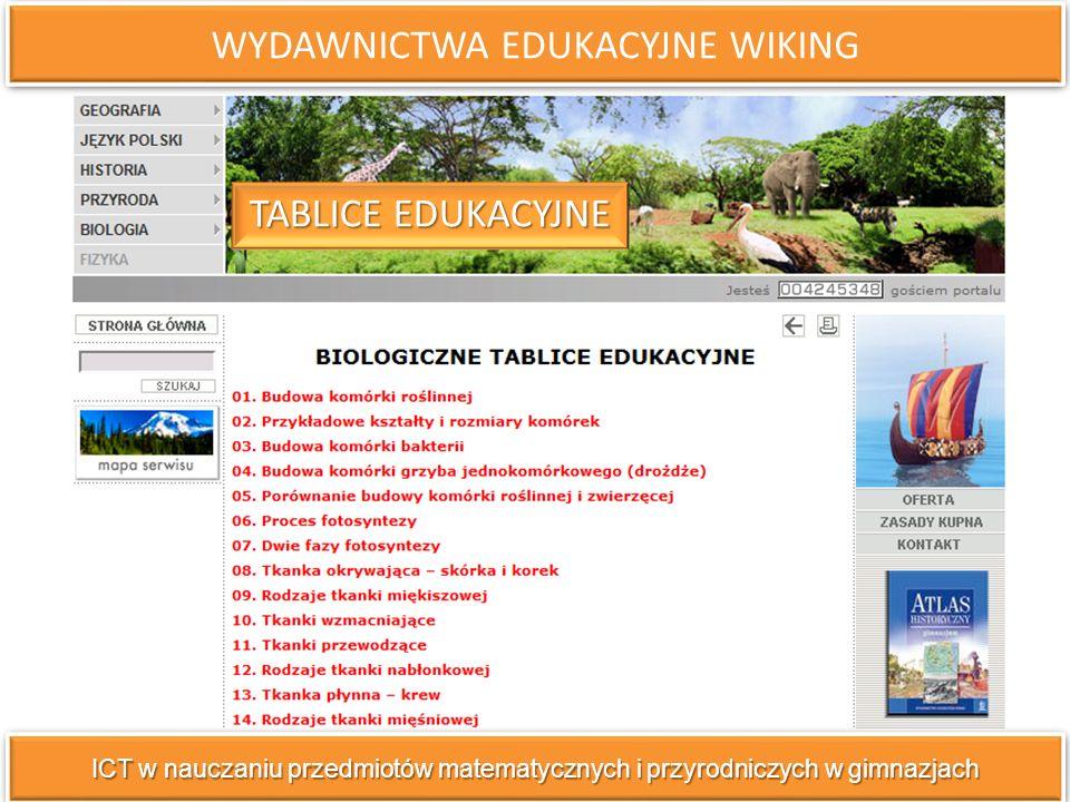 WYDAWNICTWA EDUKACYJNE WIKING ICT w nauczaniu przedmiotów matematycznych i przyrodniczych w gimnazjach TABLICE EDUKACYJNE TABLICE EDUKACYJNE