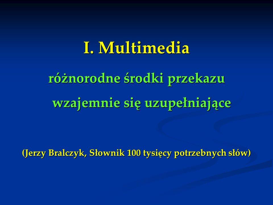 I. Multimedia różnorodne środki przekazu wzajemnie się uzupełniające (Jerzy Bralczyk, Słownik 100 tysięcy potrzebnych słów)