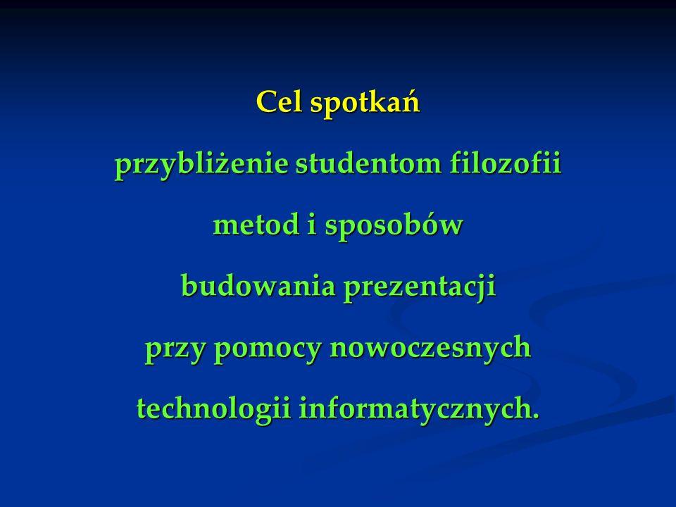 Cel spotkań przybliżenie studentom filozofii metod i sposobów budowania prezentacji przy pomocy nowoczesnych technologii informatycznych.