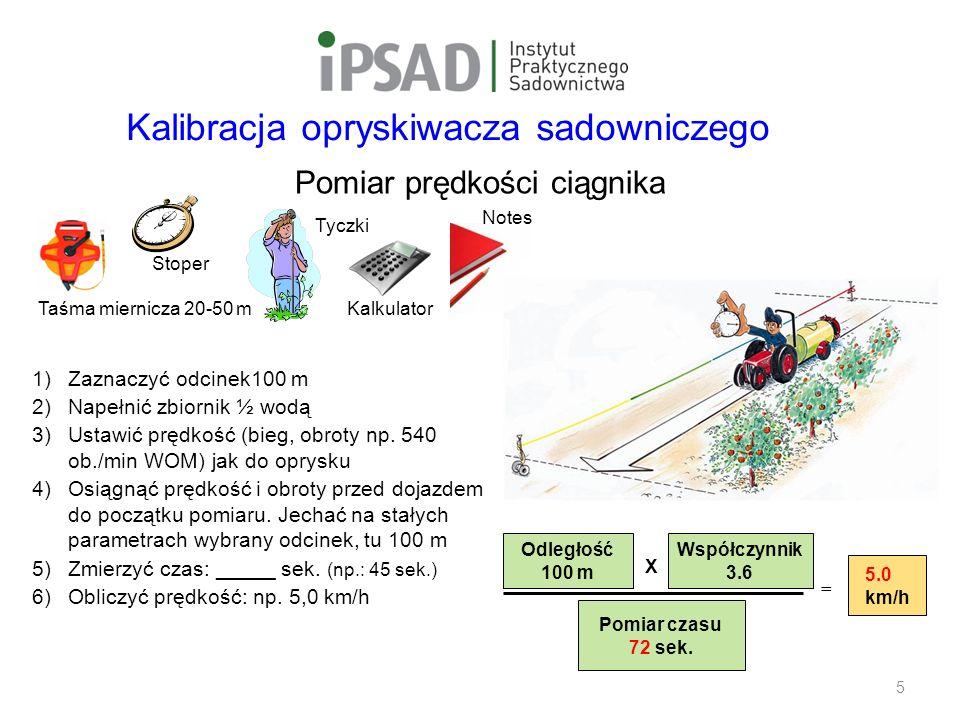 Safe Use Initiative Pomiar prędkości ciągnika 1)Zaznaczyć odcinek100 m 2)Napełnić zbiornik ½ wodą 3)Ustawić prędkość (bieg, obroty np.