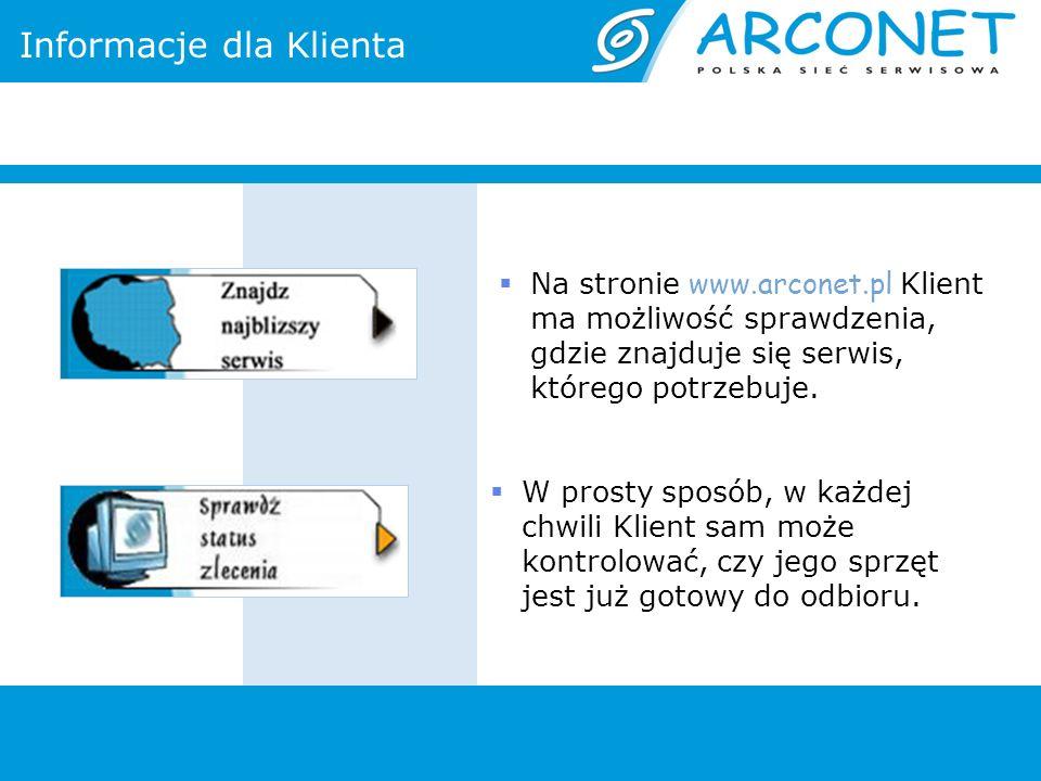 Informacje dla Klienta Na stronie www.arconet.pl Klient ma możliwość sprawdzenia, gdzie znajduje się serwis, którego potrzebuje. W prosty sposób, w ka