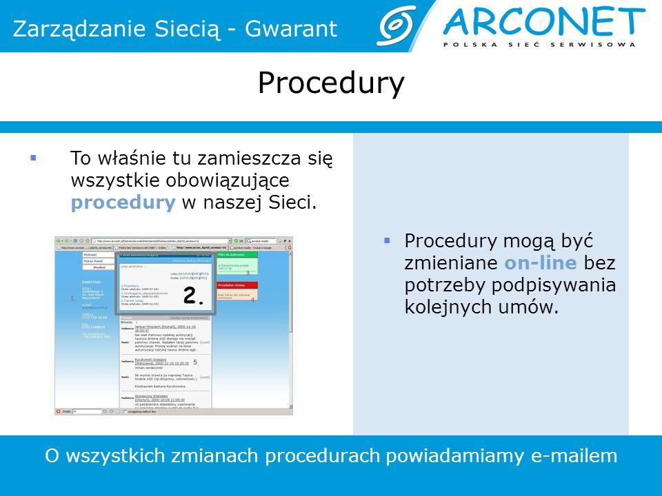 Procedury Procedury mogą być zmieniane on-line bez potrzeby podpisywania kolejnych umów. To właśnie tu zamieszcza się wszystkie obowiązujące procedury