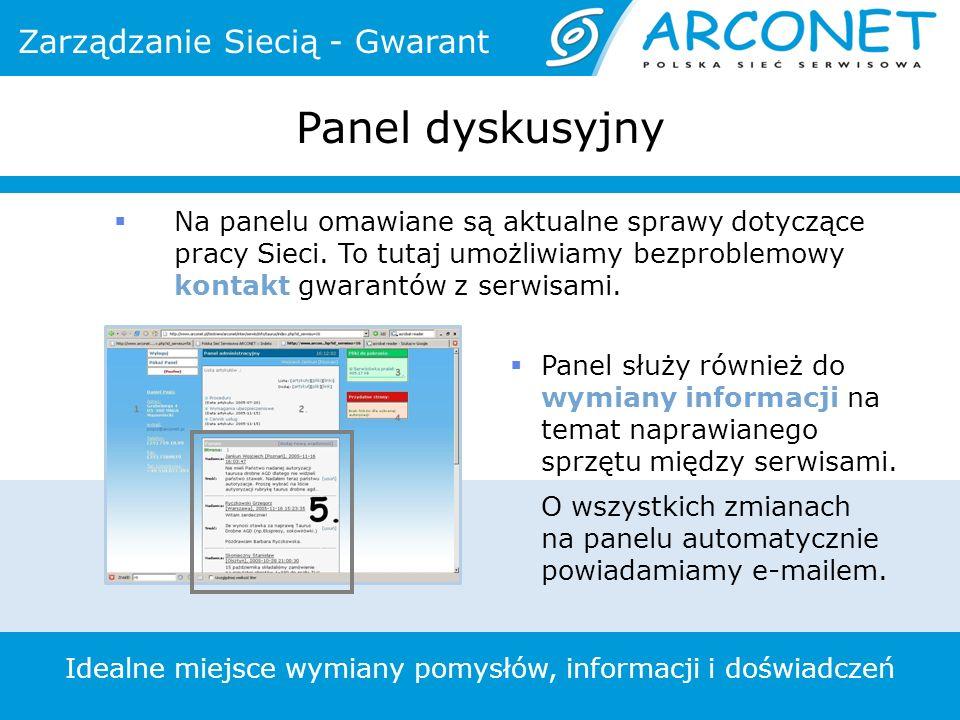 Panel dyskusyjny Idealne miejsce wymiany pomysłów, informacji i doświadczeń Panel służy również do wymiany informacji na temat naprawianego sprzętu między serwisami.