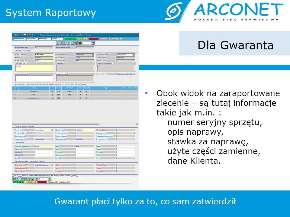 System Raportowy Dla Gwaranta Obok widok na zaraportowane zlecenie – są tutaj informacje takie jak m.in.