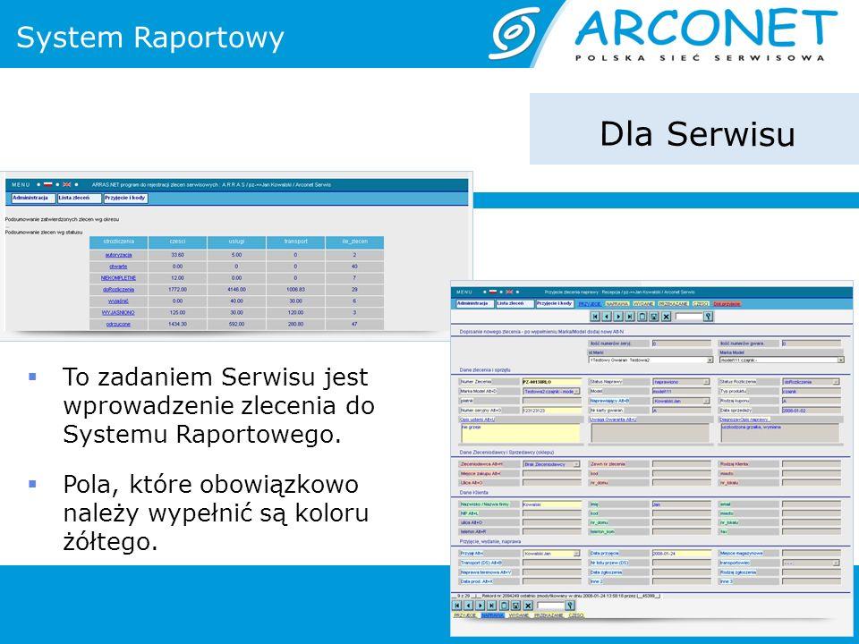 System Raportowy Dla Serwisu To zadaniem Serwisu jest wprowadzenie zlecenia do Systemu Raportowego. Pola, które obowiązkowo należy wypełnić są koloru