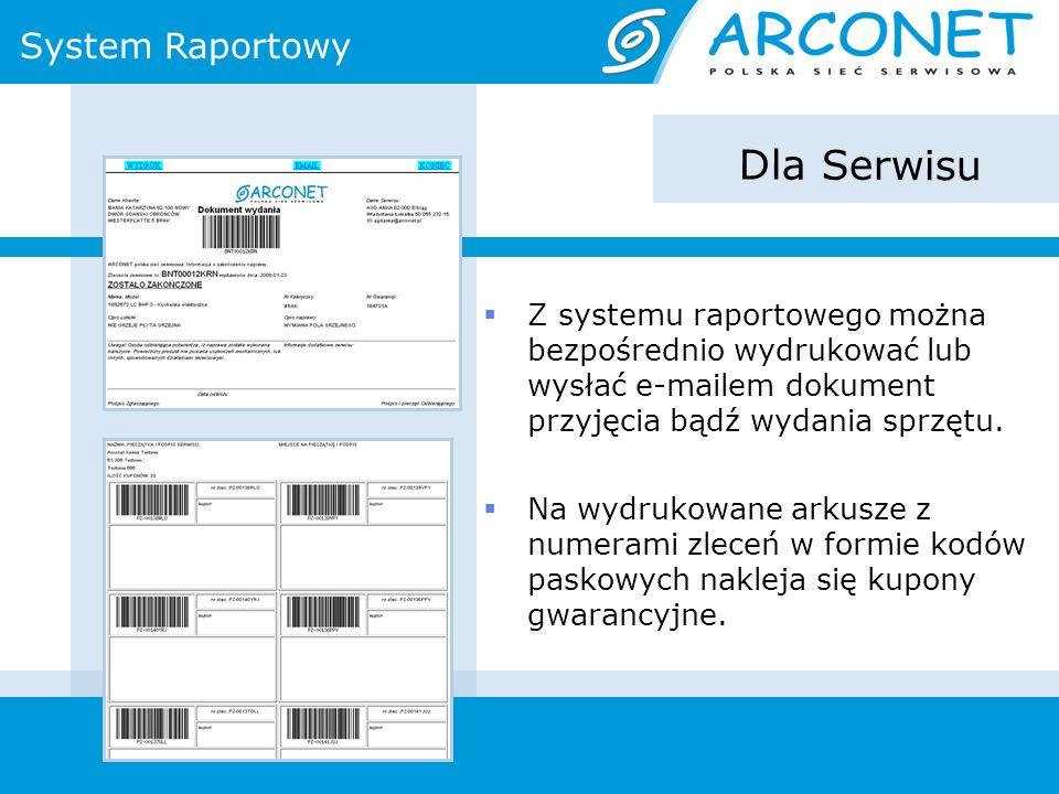 System Raportowy Dla Serwisu Z systemu raportowego można bezpośrednio wydrukować lub wysłać e-mailem dokument przyjęcia bądź wydania sprzętu. Na wydru