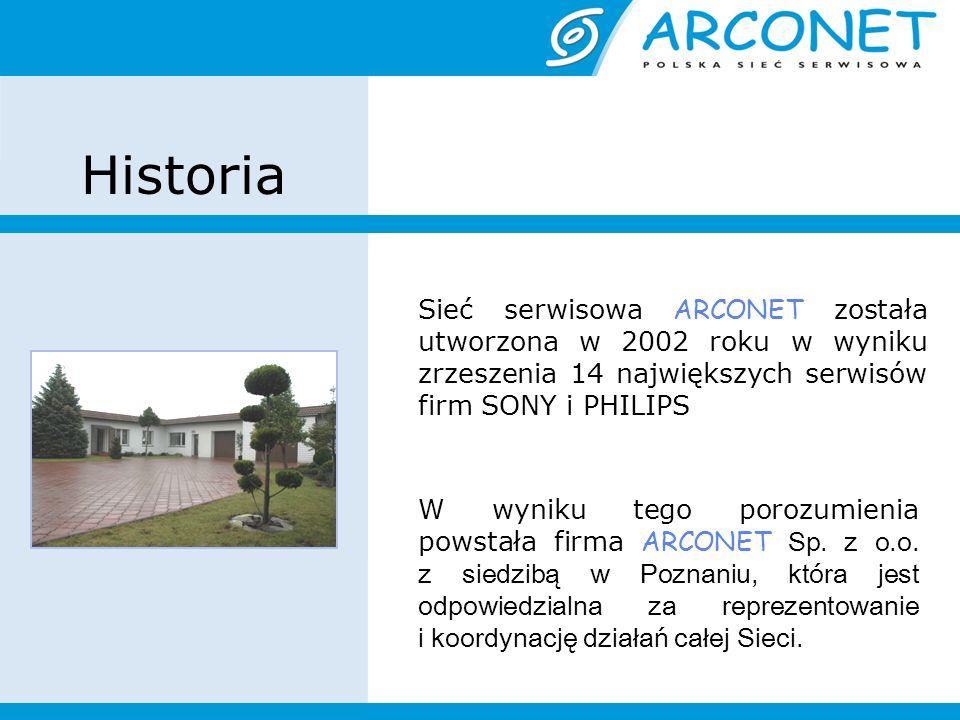 Historia Sieć serwisowa ARCONET została utworzona w 2002 roku w wyniku zrzeszenia 14 największych serwisów firm SONY i PHILIPS W wyniku tego porozumienia powstała firma ARCONET Sp.