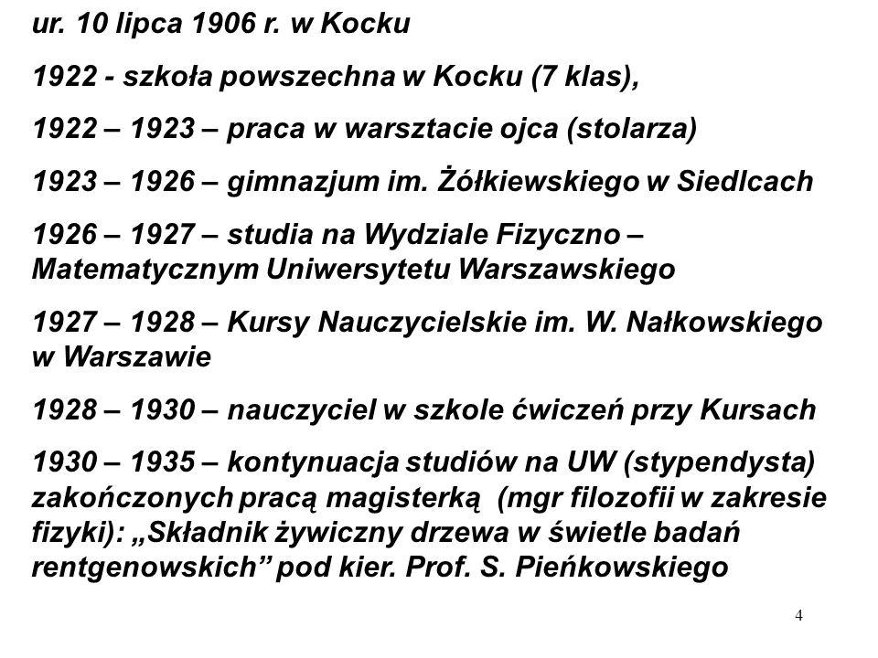 1935 – 1936 – praca w Instytucie Fizycznym Muzeum Przemysłu i Rolnictwa (prof.