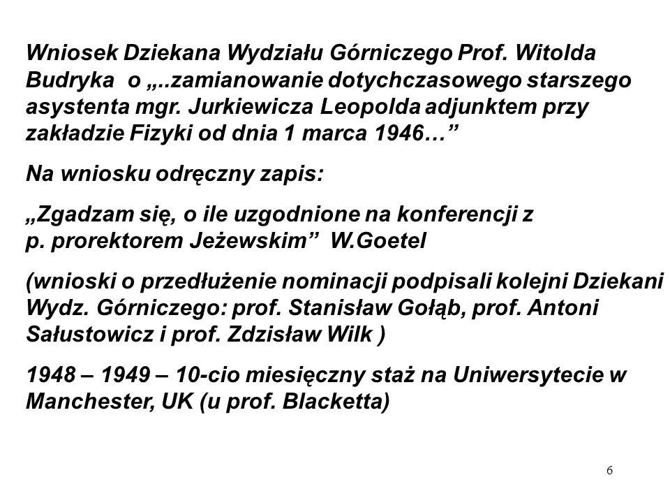 Pierwsze publikacje -S.Pieńkowski, L.Jurkiewicz, Résine dans bois étudiés aux rayons X, Acta Phys.