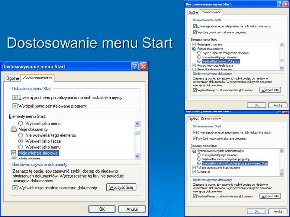 Dostosowanie menu Start
