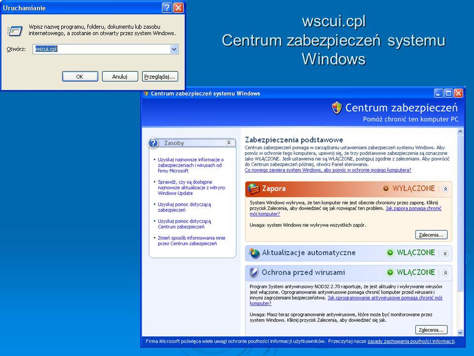 wscui.cpl Centrum zabezpieczeń systemu Windows