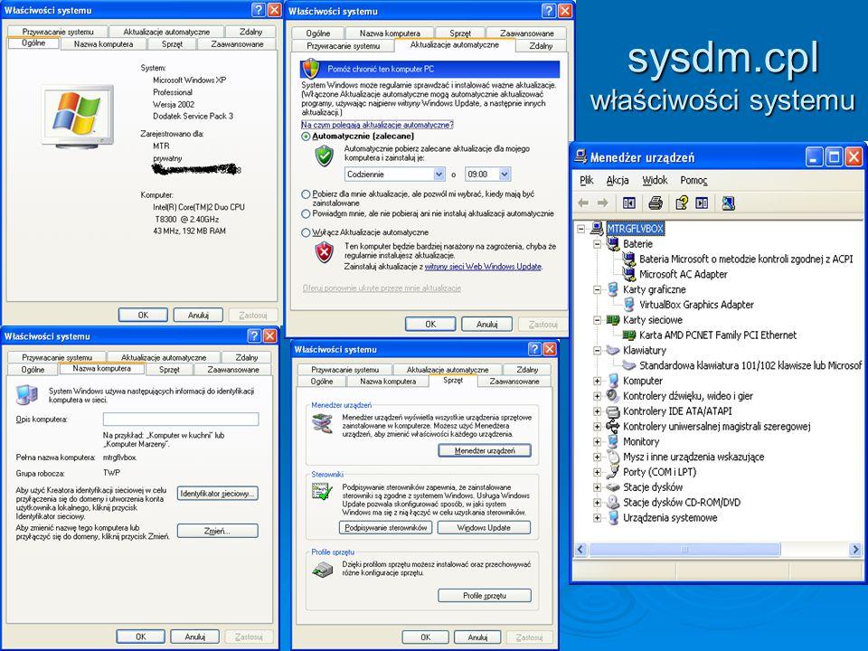 sysdm.cpl właściwości systemu