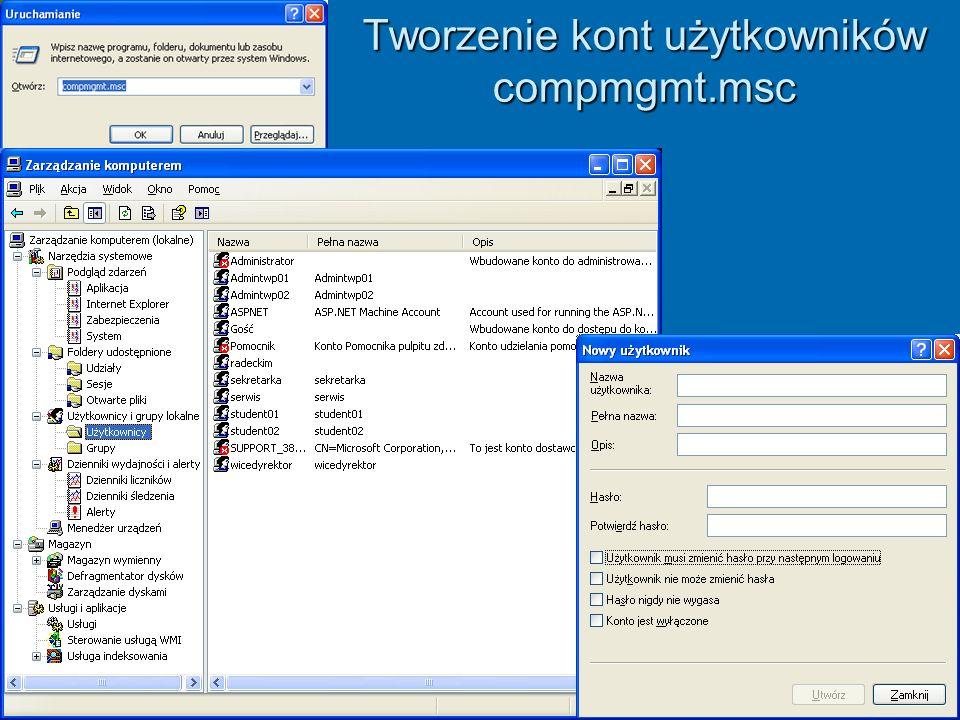 Tworzenie kont użytkowników compmgmt.msc