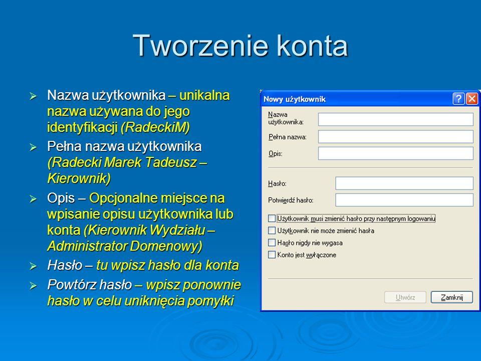 Tworzenie konta Nazwa użytkownika – unikalna nazwa używana do jego identyfikacji (RadeckiM) Nazwa użytkownika – unikalna nazwa używana do jego identyf