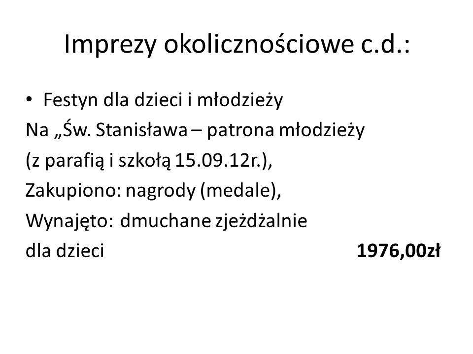 Imprezy okolicznościowe c.d.: Festyn dla dzieci i młodzieży Na Św.