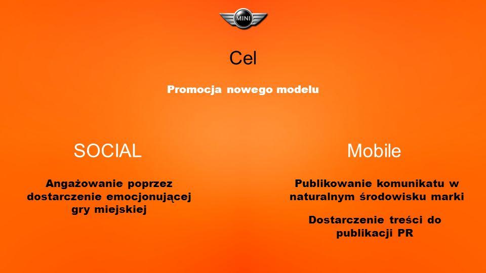 SOCIALMobile Cel Promocja nowego modelu Angażowanie poprzez dostarczenie emocjonującej gry miejskiej Publikowanie komunikatu w naturalnym środowisku marki Dostarczenie treści do publikacji PR