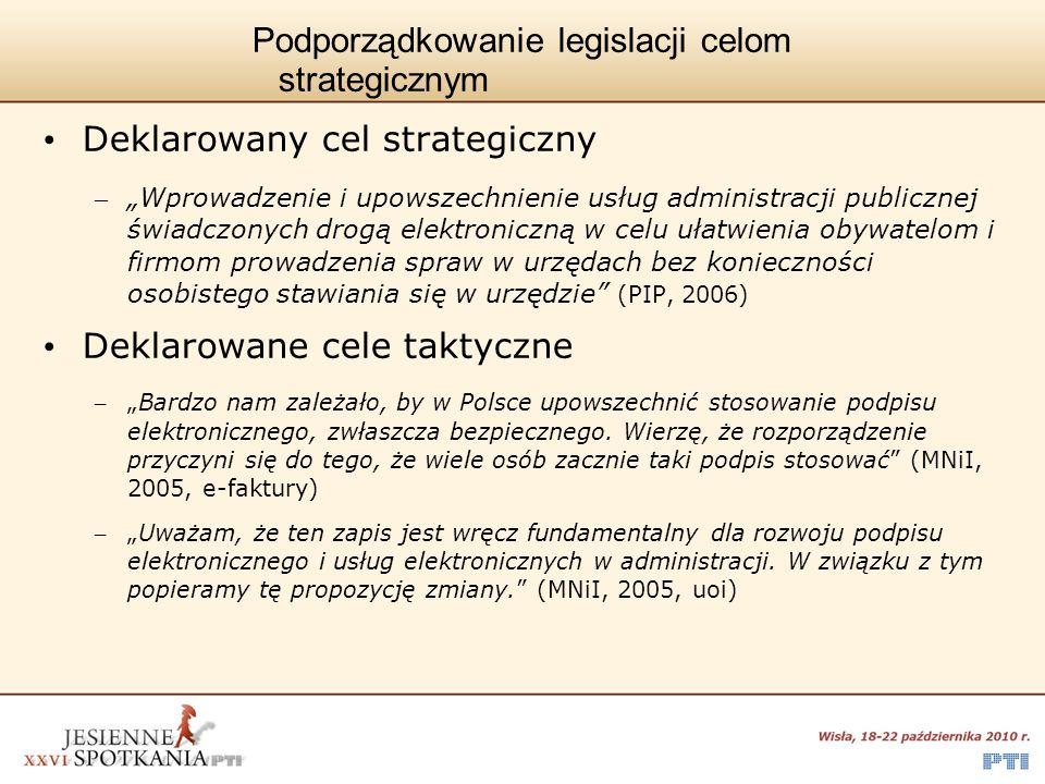 Podporządkowanie legislacji celom strategicznym Deklarowany cel strategiczny – Wprowadzenie i upowszechnienie usług administracji publicznej świadczon