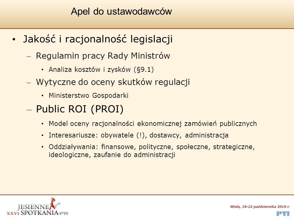 Apel do ustawodawców Jakość i racjonalność legislacji – Regulamin pracy Rady Ministrów Analiza kosztów i zysków (§9.1) – Wytyczne do oceny skutków reg