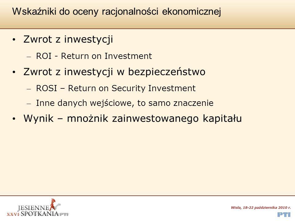 Wskaźniki do oceny racjonalności ekonomicznej Zwrot z inwestycji – ROI - Return on Investment Zwrot z inwestycji w bezpieczeństwo – ROSI – Return on S