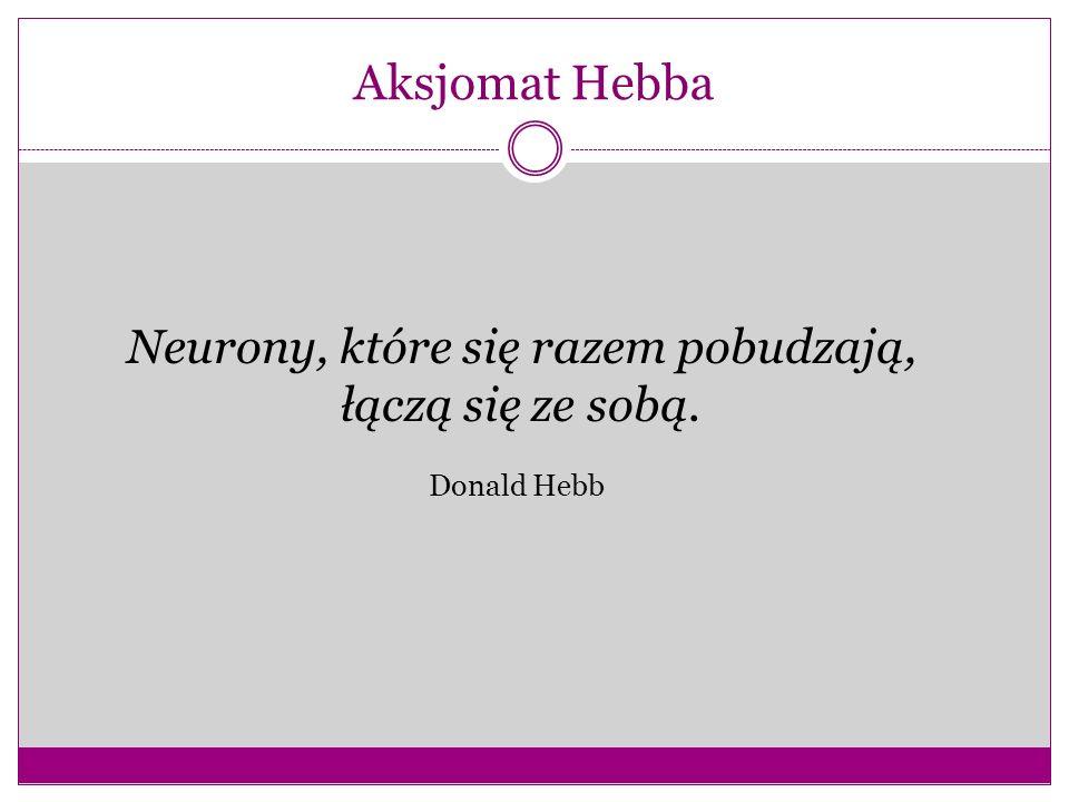 Aksjomat Hebba Neurony, które się razem pobudzają, łączą się ze sobą. Donald Hebb