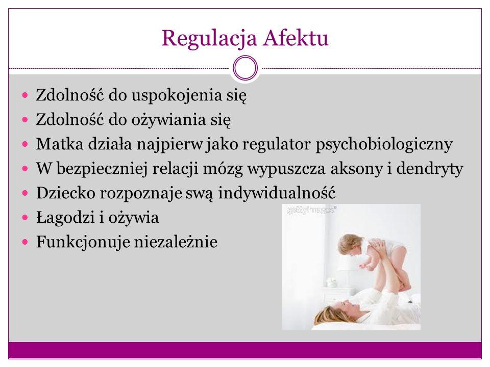 Regulacja Afektu Zdolność do uspokojenia się Zdolność do ożywiania się Matka działa najpierw jako regulator psychobiologiczny W bezpieczniej relacji m