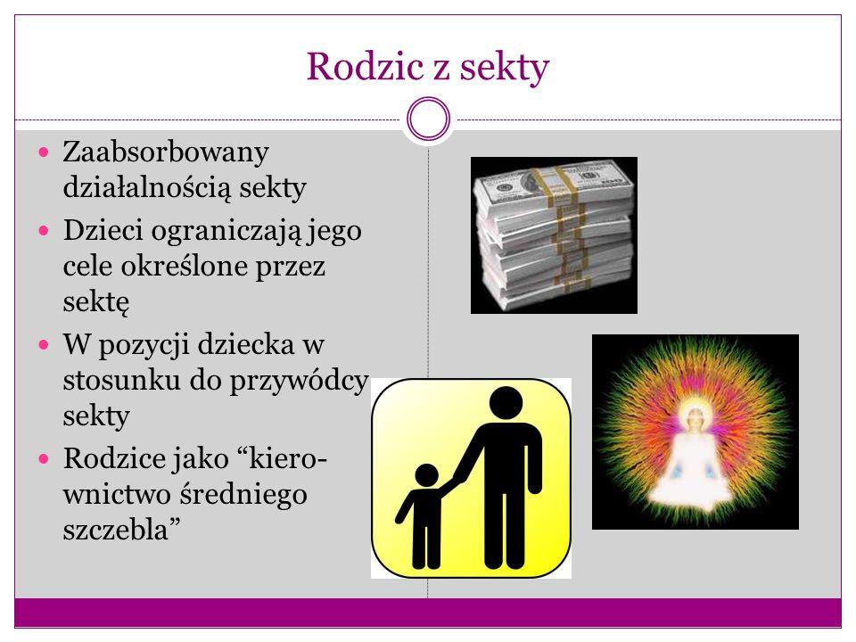 Rodzic z sekty Zaabsorbowany działalnością sekty Dzieci ograniczają jego cele określone przez sektę W pozycji dziecka w stosunku do przywódcy sekty Ro