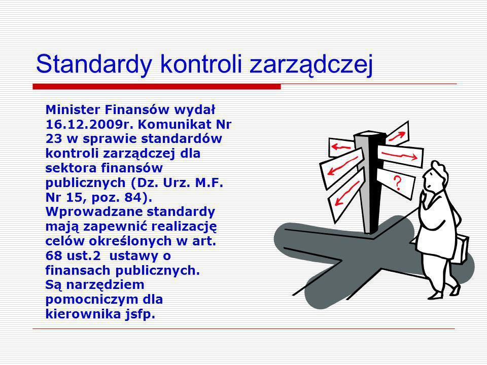 Standardy kontroli zarządczej Minister Finansów wydał 16.12.2009r. Komunikat Nr 23 w sprawie standardów kontroli zarządczej dla sektora finansów publi