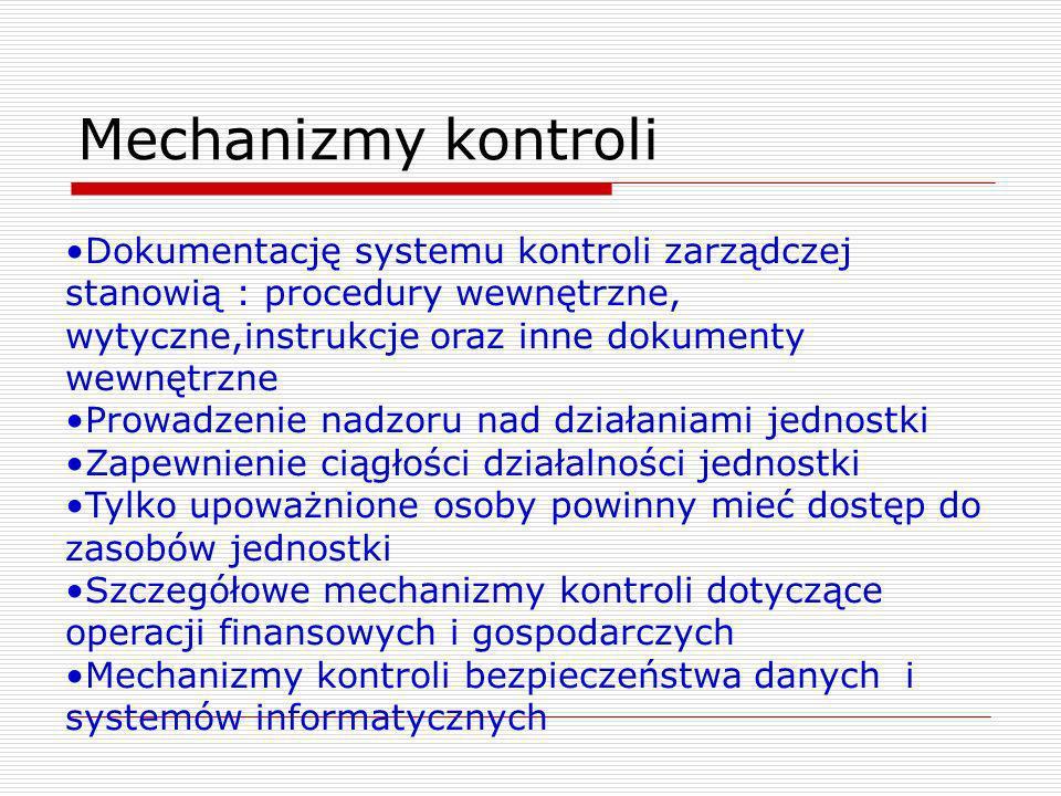 Mechanizmy kontroli Dokumentację systemu kontroli zarządczej stanowią : procedury wewnętrzne, wytyczne,instrukcje oraz inne dokumenty wewnętrzne Prowa