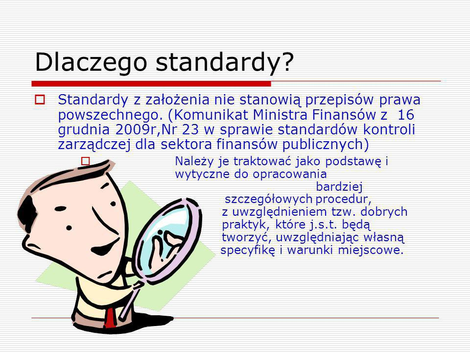 Dlaczego standardy? Standardy z założenia nie stanowią przepisów prawa powszechnego. (Komunikat Ministra Finansów z 16 grudnia 2009r,Nr 23 w sprawie s