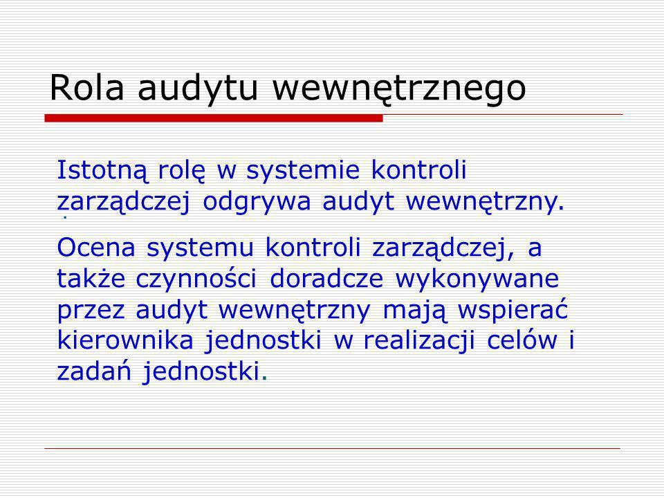 Rola audytu wewnętrznego. Istotną rolę w systemie kontroli zarządczej odgrywa audyt wewnętrzny. Ocena systemu kontroli zarządczej, a także czynności d