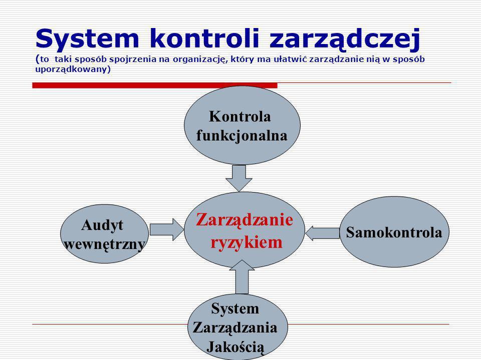 Zarządzanie ryzykiem Kontrola funkcjonalna Samokontrola Audyt wewnętrzny System Zarządzania Jakością System kontroli zarządczej ( to taki sposób spojr