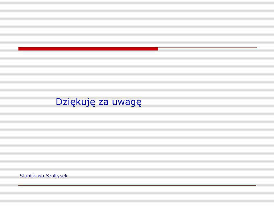 Stanisława Szołtysek Dziękuję za uwagę