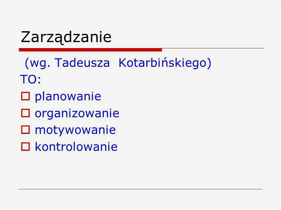 Zarządzanie (wg. Tadeusza Kotarbińskiego) TO: planowanie organizowanie motywowanie kontrolowanie
