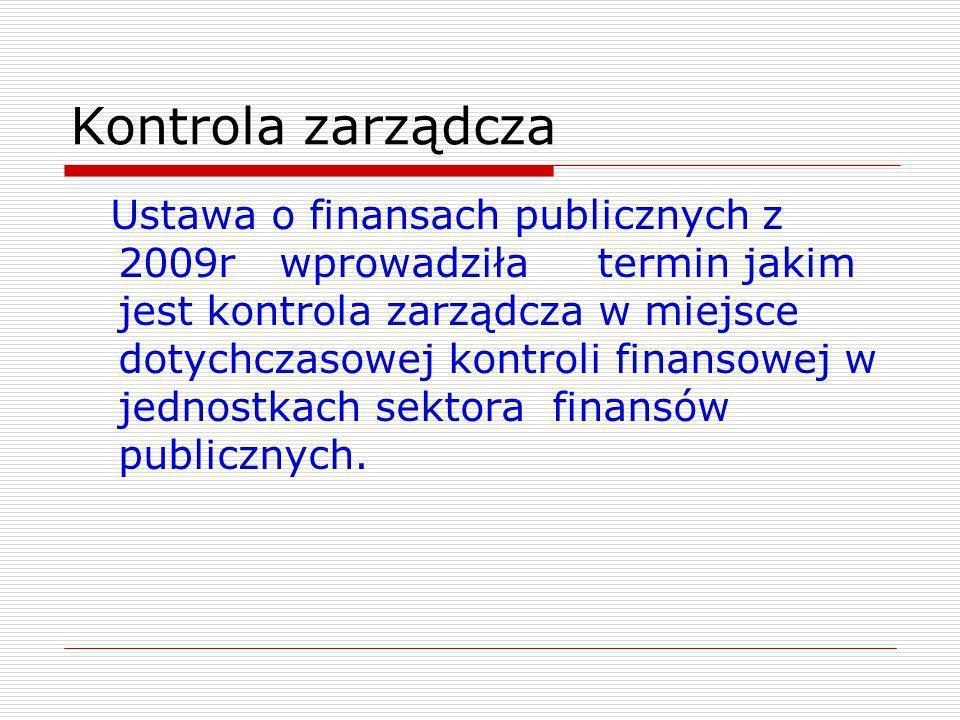 Kontrola zarządcza Ustawa o finansach publicznych z 2009r wprowadziła termin jakim jest kontrola zarządcza w miejsce dotychczasowej kontroli finansowe