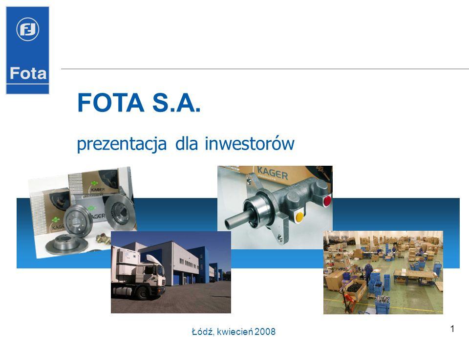 1 FOTA S.A. prezentacja dla inwestorów Łódź, kwiecień 2008