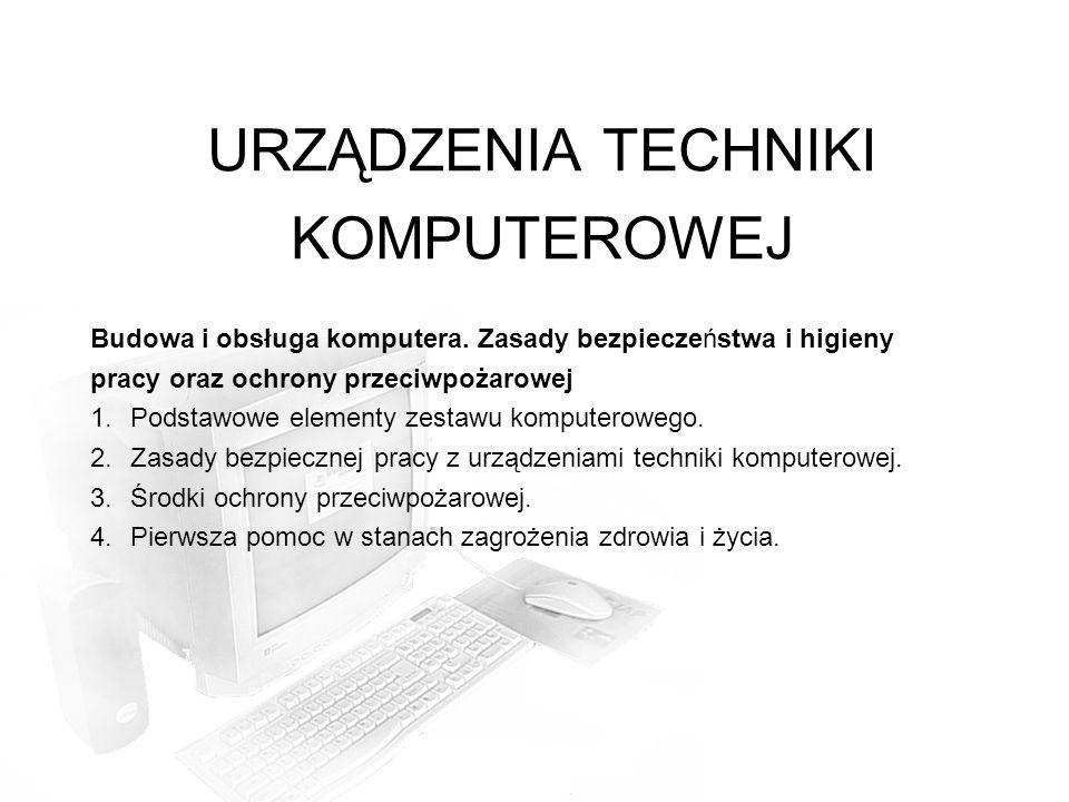 URZĄDZENIA TECHNIKI KOMPUTEROWEJ Budowa i obsługa komputera.