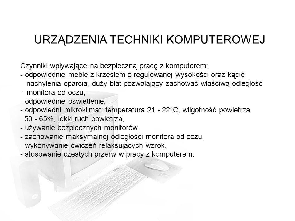 Czynniki wpływające na bezpieczną pracę z komputerem: - odpowiednie meble z krzesłem o regulowanej wysokości oraz kącie nachylenia oparcia, duży blat pozwalający zachować właściwą odległość - monitora od oczu, - odpowiednie oświetlenie, - odpowiedni mikroklimat: temperatura 21 - 22°C, wilgotność powietrza 50 - 65%, lekki ruch powietrza, - używanie bezpiecznych monitorów, - zachowanie maksymalnej odległości monitora od oczu, - wykonywanie ćwiczeń relaksujących wzrok, - stosowanie częstych przerw w pracy z komputerem.