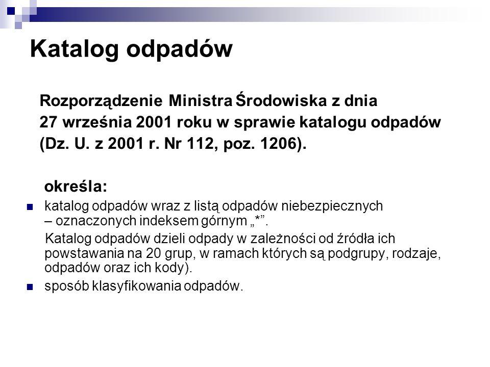 Katalog odpadów Rozporządzenie Ministra Środowiska z dnia 27 września 2001 roku w sprawie katalogu odpadów (Dz. U. z 2001 r. Nr 112, poz. 1206). okreś