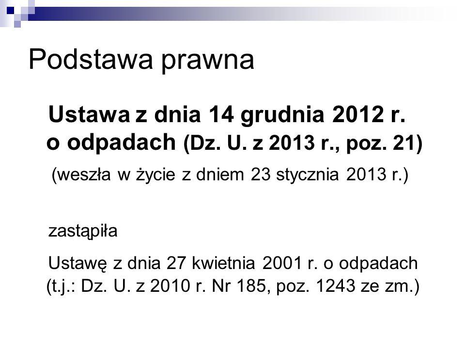 Podstawa prawna Ustawa z dnia 14 grudnia 2012 r. o odpadach (Dz. U. z 2013 r., poz. 21) (weszła w życie z dniem 23 stycznia 2013 r.) zastąpiła Ustawę