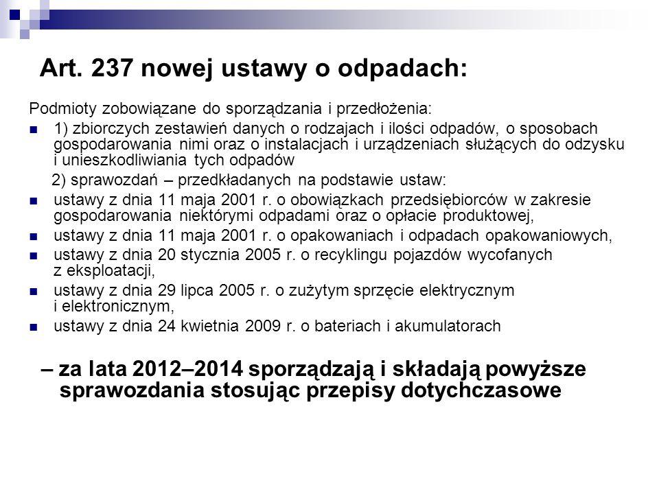 Art. 237 nowej ustawy o odpadach: Podmioty zobowiązane do sporządzania i przedłożenia: 1) zbiorczych zestawień danych o rodzajach i ilości odpadów, o
