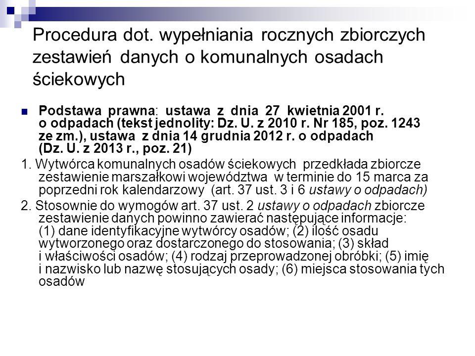 Procedura dot. wypełniania rocznych zbiorczych zestawień danych o komunalnych osadach ściekowych Podstawa prawna: ustawa z dnia 27 kwietnia 2001 r. o