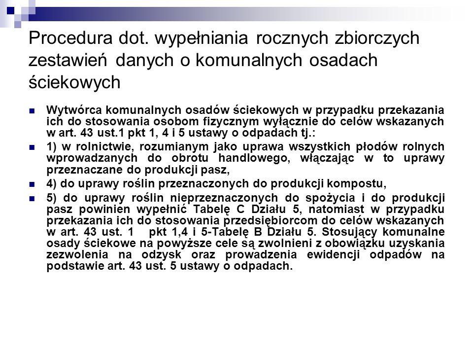 Procedura dot. wypełniania rocznych zbiorczych zestawień danych o komunalnych osadach ściekowych Wytwórca komunalnych osadów ściekowych w przypadku pr