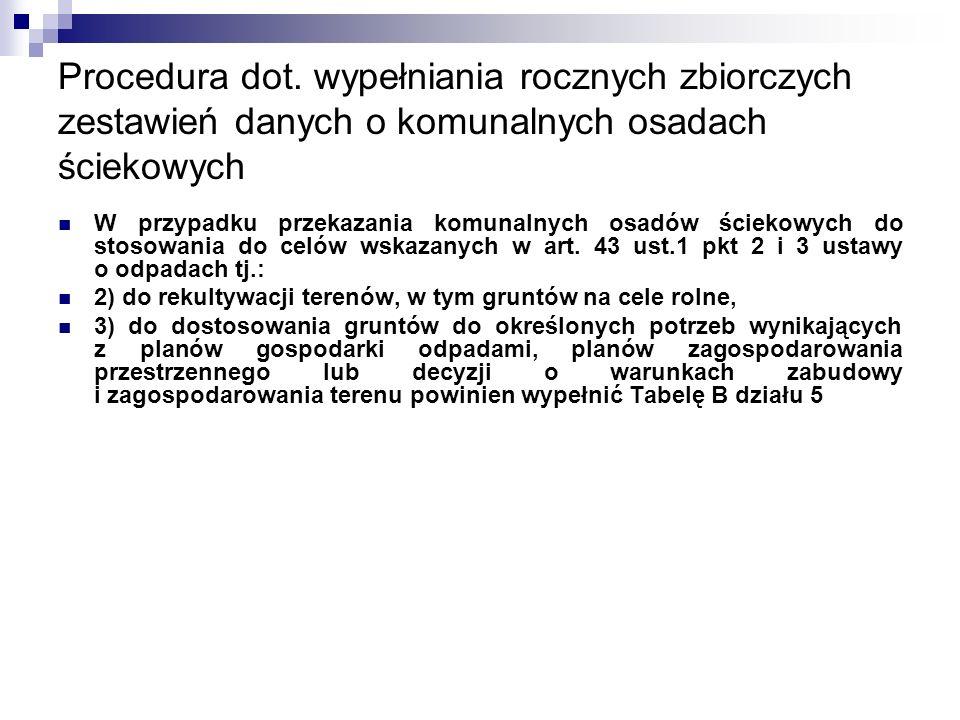 Procedura dot. wypełniania rocznych zbiorczych zestawień danych o komunalnych osadach ściekowych W przypadku przekazania komunalnych osadów ściekowych